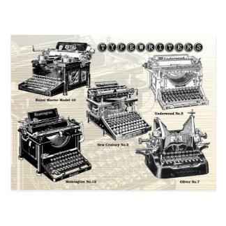 Vintage Schreibmaschinen - Illustrationen Postkarte
