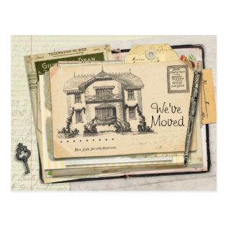 Vintage Schreibtisch-Postkarte, die wir uns bewegt Postkarte