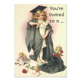 Vintage SchulAbschluss-Einladung 12,7 X 17,8 Cm Einladungskarte