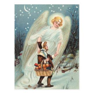 Vintage Schutzengel mit Mädchen im Schnee Postkarte