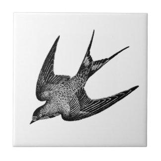 Vintage Schwalben-Illustration - antiker Vogel Kleine Quadratische Fliese
