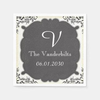 Vintage Schwarz-weiße Tafel-Monogramm-Hochzeit Serviette