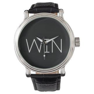 Vintage schwarze der lederne Bügel-Uhr GEWINN Uhr