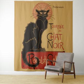 Vintage schwarze Katze Art Nouveau Le Chat Noir Wandteppich