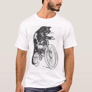 Vintage schwarze Katze auf Fahrrad T-Shirt