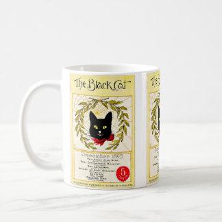 Vintage schwarze Katzen-Zeitschrift im Dezember Kaffeetasse