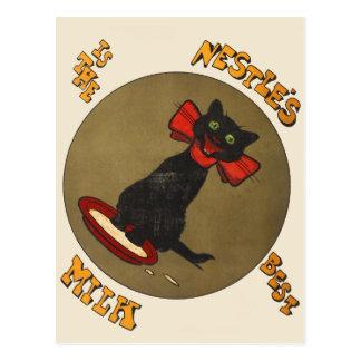 Vintage schwarze Katzenestles Milch-Postkarte Postkarte