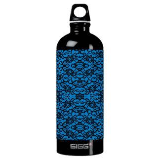 Vintage schwarze Spitze auf blauer Sammlung Aluminiumwasserflasche