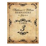 Vintage schwarze Strudel-Hochzeits-Empfangs-Tischn Postkarte