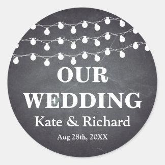 Vintage schwarze Tafel-Schnur beleuchtet Hochzeit Runder Aufkleber