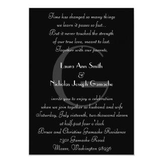 Vintage schwarze u. weiße Monogramm-Einladung 12,7 X 17,8 Cm Einladungskarte