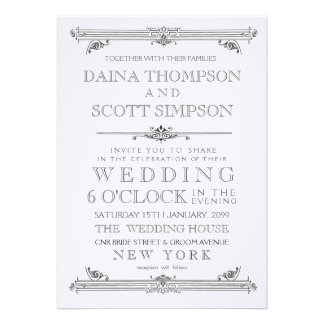 Vintage schwarze u weiße Typografie-Hochzeit Individuelle Ankündigskarten