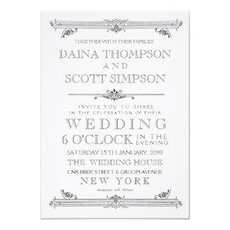 Vintage schwarze u. weiße Typografie-Hochzeit 12,7 X 17,8 Cm Einladungskarte