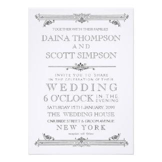 Vintage schwarze u. weiße Typografie-Hochzeit lade Individuelle Ankündigskarten