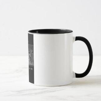 Vintage schwarze Wecker-Tasse der Schreibens-11oz Tasse
