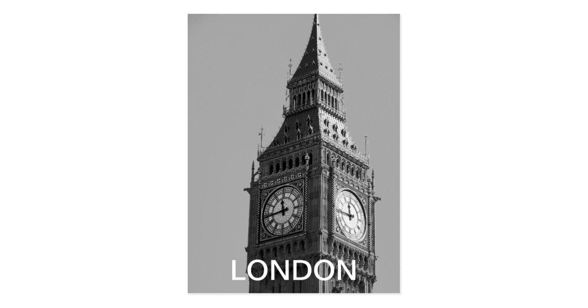 vintage schwarzweiss postkarte big ben london postkarten zazzle. Black Bedroom Furniture Sets. Home Design Ideas
