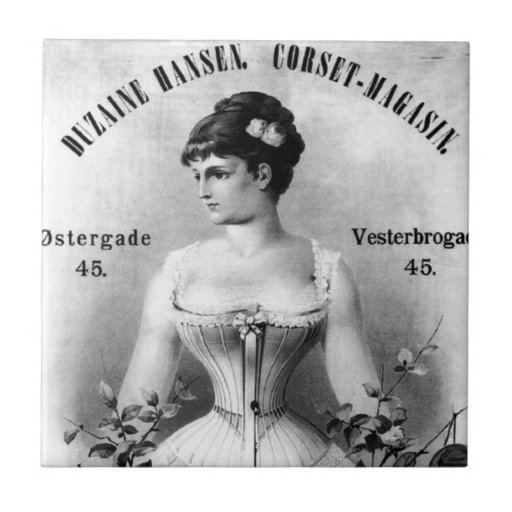 Vintage schwedische Korsett-Anzeige Fliese