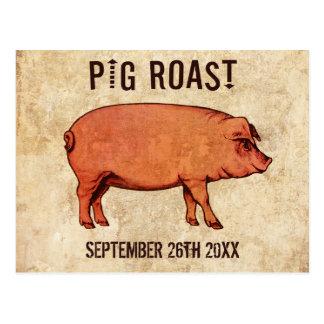 Vintage Schwein-Braten-Postkarten-Einladung IV Postkarte