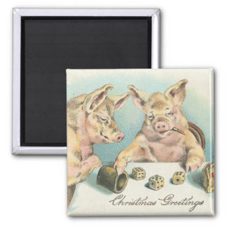 Vintage Schweine, die Würfel-Weihnachtsgruß spiele Quadratischer Magnet