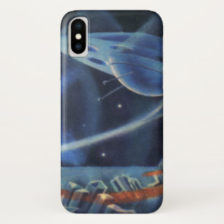 Vintage Science Fiction-blauer Planet mit iPhone X Hülle