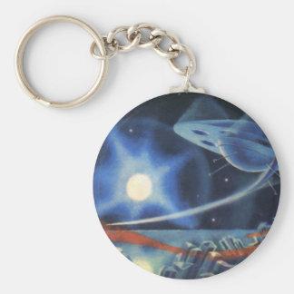 Vintage Science Fiction-blauer Planet mit Schlüsselanhänger