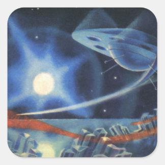 Vintage Science Fiction-blaues Raumschiff über Pla Stickers