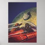 Vintage Science Fiction, die zur Mondstadt fliegt Poster