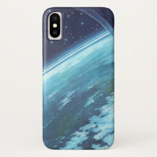 Vintage Science Fiction, Erde nachts mit Sternen iPhone X Hülle