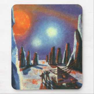 Vintage Science Fiction-fremder Planet mit Mousepad