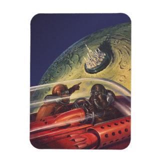 Vintage Science Fiction, futuristische Stadt auf Magnet