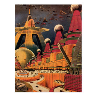 Vintage Science Fiction-futuristisches Postkarte