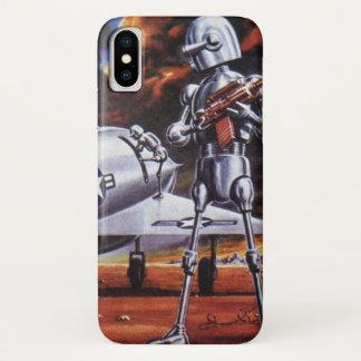 Vintage Science Fiction-Militärroboter-Soldaten iPhone X Hülle