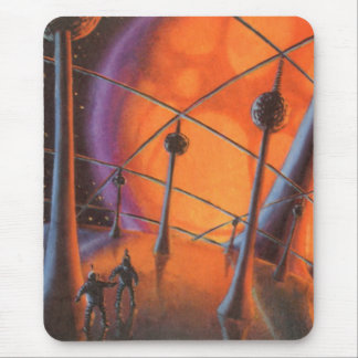 Vintage Science Fiction, orange Sun und Mousepad