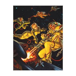 Vintage Science Fiction-Raum-Weg-Astronauten Leinwanddruck