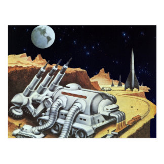 Vintage Science Fiction, Raumstation auf dem Mond Postkarte