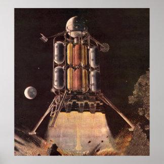 Vintage Science Fiction Rocket, das weg vom Planet Posterdruck
