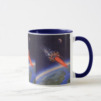 Vintage Science Fiction Rocket im Raum über Erde Tasse