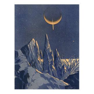 Vintage Science Fiction, sichelförmiger Postkarte