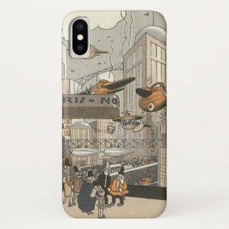 Vintage Science Fiction städtisches Paris, iPhone X Hülle