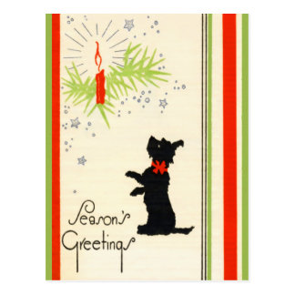 Vintage Scottie-Hundeweihnachtspostkarte Postkarte