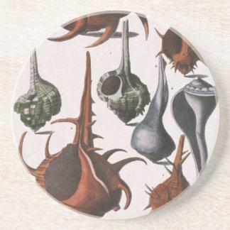 Vintage Seashells-Muscheln, Marineozean-Tiere Getränkeuntersetzer