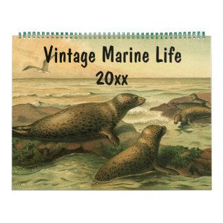 Vintage Seegeschöpfe und Ozean-Marinelebens-Tier Kalender