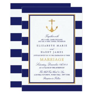 Vintage Seegoldanker-Hochzeit Karte