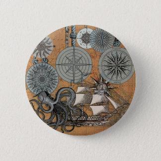 Vintage Seekraken-Segeln-Kunst-Druck-Grafik Runder Button 5,7 Cm