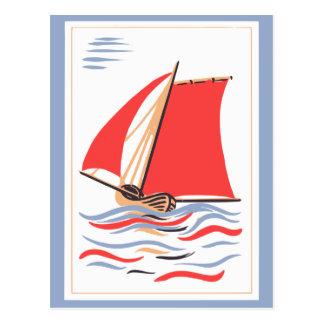 Vintage Segelboot-Kunst Postkarte