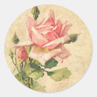 Vintage Shabby Chic-Rosa-Rosen-Blumen-Aufkleber Runder Aufkleber