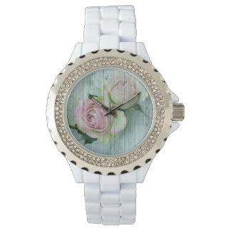 Vintage Shabby Chic-Rosa-Rosen-reine Eleganz Armbanduhr