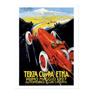 Vintage Sizilien-Zwanzigerjahre laufende Autos Postkarte