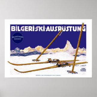 Vintage Ski-Ausrüstung Karls Kunst Bilgeri Poster
