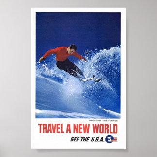Vintage Ski fahrende Reise-Plakat-Kunst Aspen Poster